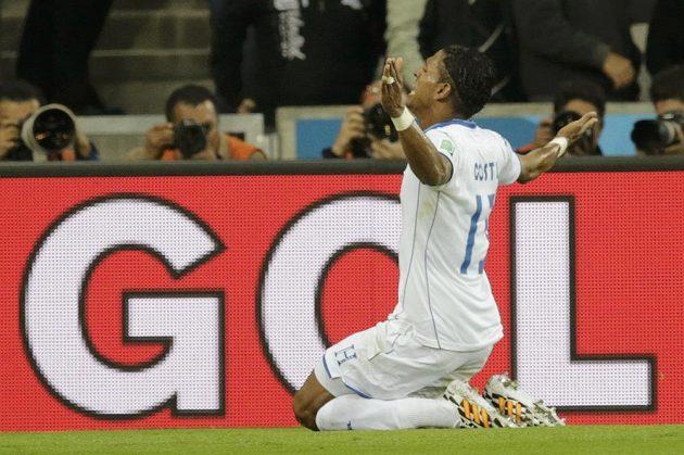 Útočník Hondurasu Carlo Costly slaví gól proti Ekvádoru.