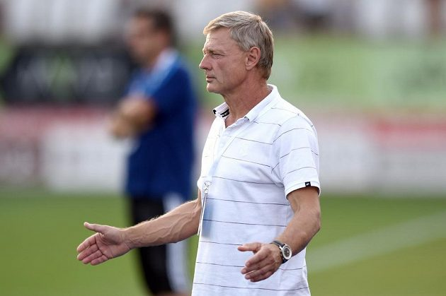 Trenér Sparty Zdeněk Ščasný během utkání v Jihlavě.