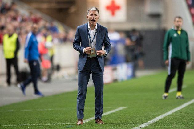 Trenér Slavie Praha Jaroslav Šilhavý během odvety play off Ligy mistrů.