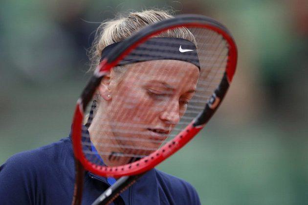 Petra Kvitová během zápasu 1. kola French Open proti Černohorce Koviničové.
