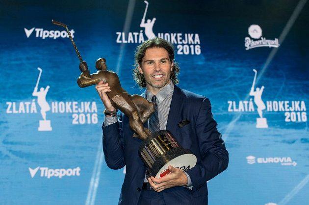 Vítěz ankety Zlatá hokejka Jaromír Jágr, v karlovarském hotelu Pupp.