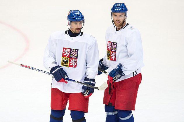 Tomáš Plekanec (vlevo) a obránce Jakub Nakládal.