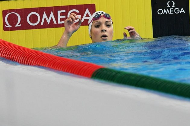 Plavkyně Lucie Svěcená po rozplavbě na 50 metrů motýlek na MS v Budapešti.