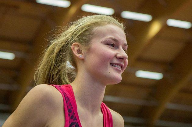 Výškařka Michaela Hrubá na halovém mistrovství ČR v Ostravě.
