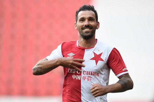 Slávista Danny poté, co dal gól proti Jihlavě.