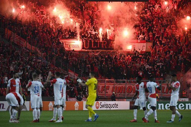 Fanoušci Union Berlín v pražském Edenu