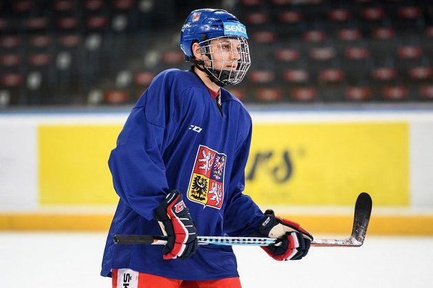 Jakub Galvas během tréninku hokejové reprezentace.