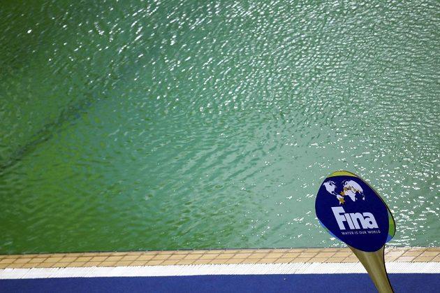 bazén se zelenou vodou.
