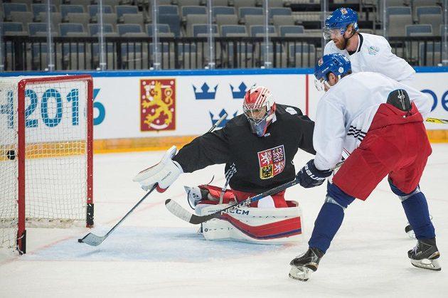 Brankář Ondřej Pavelec a útočník Jakub Voráček během tréninku české hokejové reprezentace.