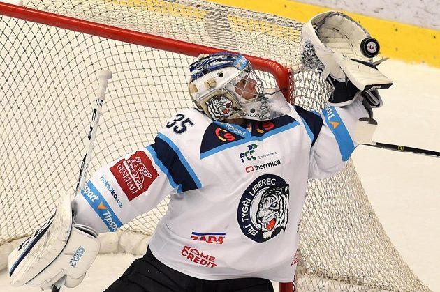 Liberecký brankář Roman Will chytá puk do lapačky.