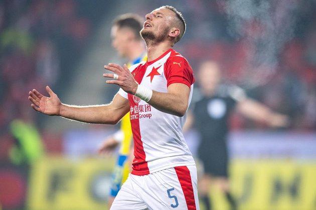 Emoce Vladimíra Coufala ze Slavie během utkání s Teplicemi.