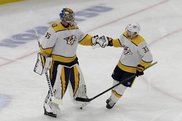 Gólman skóroval! Brankář Predators Pekka Rinne vstřelil gól do sítě Chicaga v zámořské NHL.