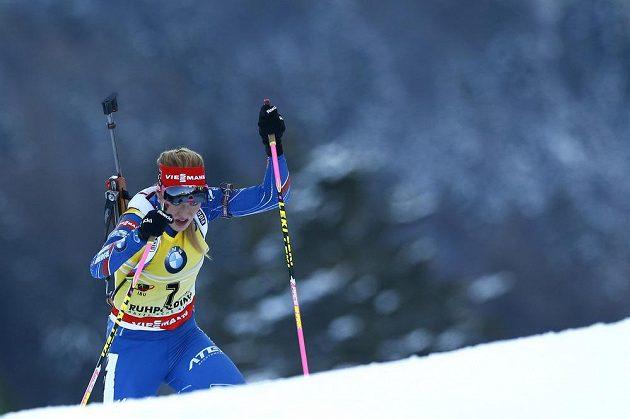 Česká biatlonistka Gabriela Soukalová během vytrvalostního závodu na 15 km v německém Ruhpoldingu.