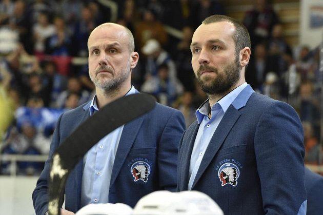 Zprava trenéři Plzně Ladislav Čihák a Martin Straka ve čtvrtém semifinále v Brně.