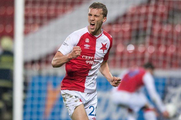 Tomáš Souček ze Slavie jásá po gólu během utkání 19. kola Synot ligy s Baníkem.