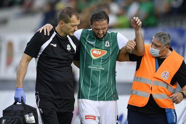 Zraněný útočník Martin Doležal z Jablonce.