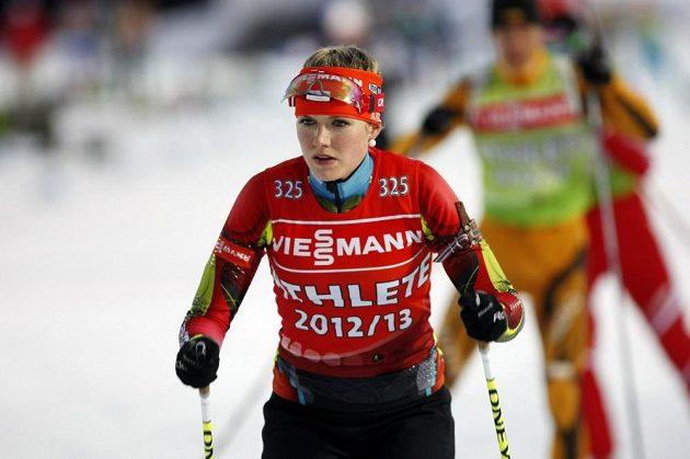Česká biatlonistka Gabriela Soukalová na tréninku štafet před MS v Novém Městě na Moravě.