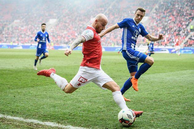 Miroslav Stoch ze Slavie Praha během utkání s Olomoucí.