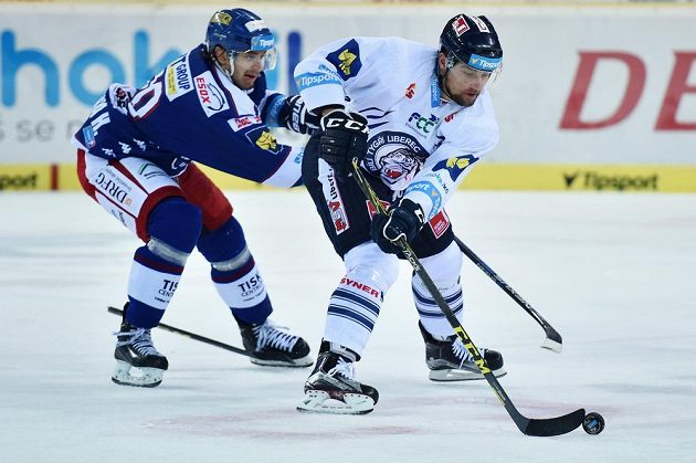 Liberecký útočník Lukáš Krenželok (vpravo) a brněnský forvard Hynek Zohorna v zápase 14. kola hokejové Tipsport extraligy.