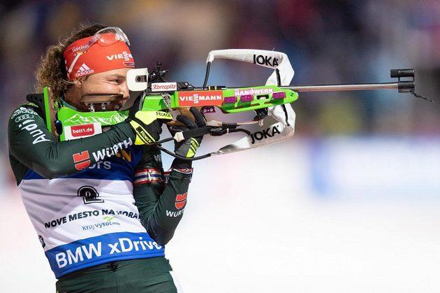 Německá biatlonistka Laura Dahlmeierová během stíhacího závodu v rámci Světového poháru v Novém Městě na Moravě.