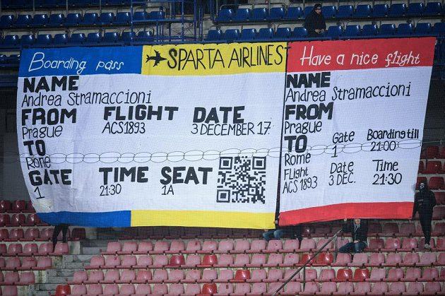 Vzkaz fanoušků Sparty. Letenka pro trenéra Andreu Stramaccioniho domů do Itálie...