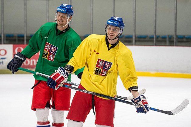 Útočníci Jan Buchtele (vpravo) a Tomáš Urban během tréninku hokejové reprezentace v Letňanech.
