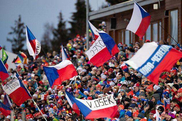 Fanoušci ve Vysočina Areně během stíhacího závodu v rámci Světového poháru v biatlonu v Novém Městě na Moravě.