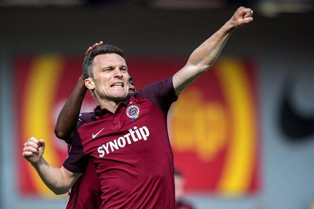 Sparťanský útočník David Lafata vstřelil proti Jihlavě všech pět gólů.
