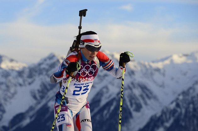 Česká biatlonistka Veronika Vítková na trati intervalového závodu na 15 km v Soči.