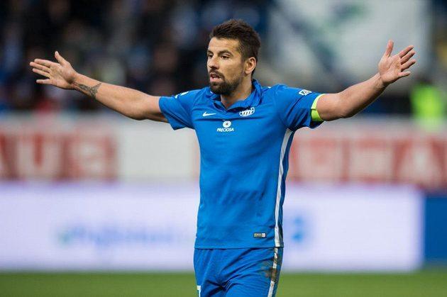 Liberecký útočník Milan Baroš během utkání se Slavií.