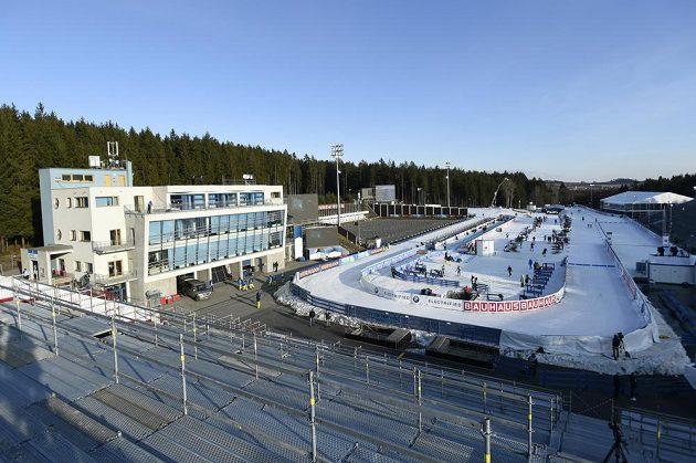 Biatlonový areál v Novém Městě na Moravě bez diváků před sprintem žen.