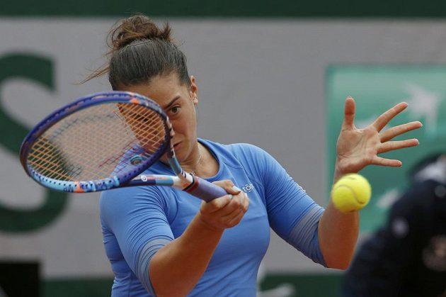 Černohorka Danka Koviničová při zápase 1. kola French Open proti Petře Kvitové.