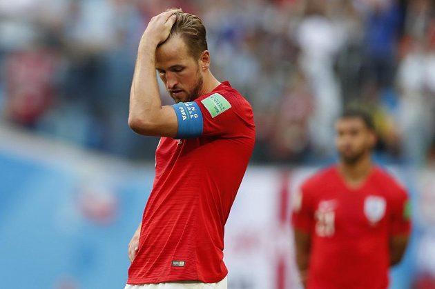 Zklamaný kapitán Anglie Harry Kane po prohraném souboji o bronz s Belgií.