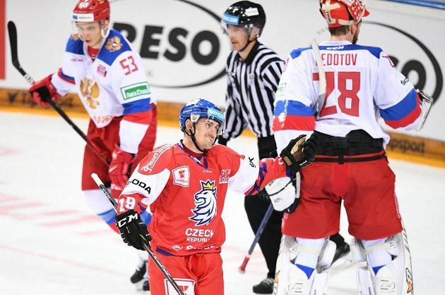 Čeští hokejisté bojovali o první místo na Českých hrách s Ruskem