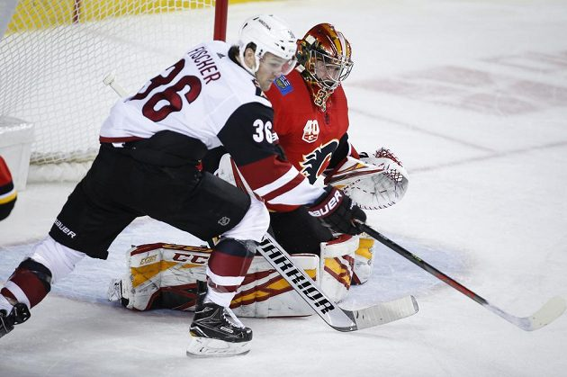 Hokejista Arizony Coyotes Christian Fischer v akci před brankou Davida Ritticha z týmu Calgary Flames.