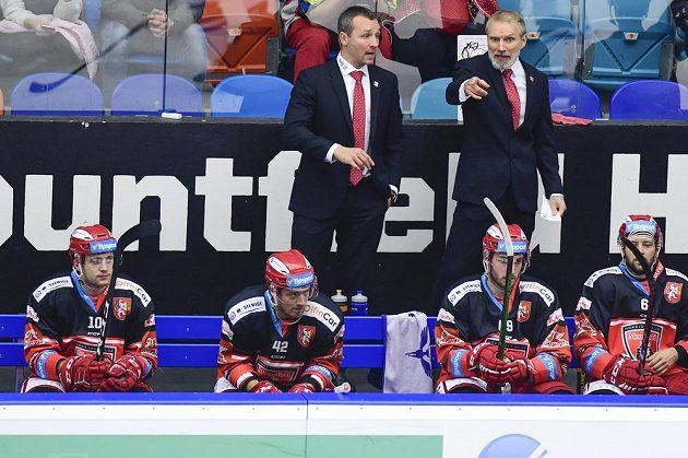 Zleva asistent trenéra Hradce Králové Ladislav Čihák a hlavní trenér Hradce Tomáš Martinec.