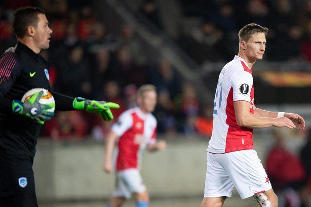 Milan Škoda ze Slavie Praha během utkání Evropské ligy s Genkem.