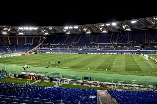 Olympijský stadión v Římě před utkáním Evropské ligy Lazio - Sparta.