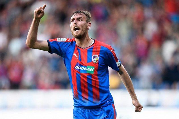 Útočník Plzně Tomáš Chorý oslavuje gól na 1:1 během utkání se Slováckem. duel však skončil nerozhodně 1:1 a z toho Západočeši radost neměli.