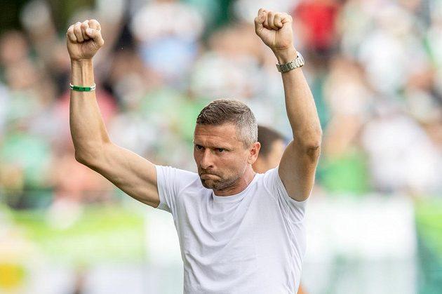 Trenér Bohemians Martin Hašek oslavuje vítězství 2:1 nad Slováckem v úvodním kole nejvyšší soutěže.