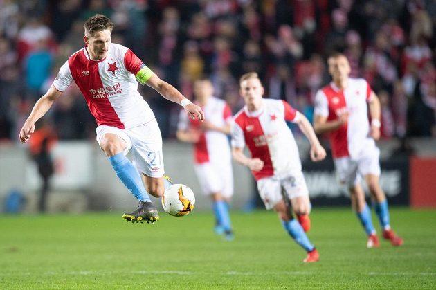 Milan Škoda ze Slavie Praha během utkání play off Evropské ligy.