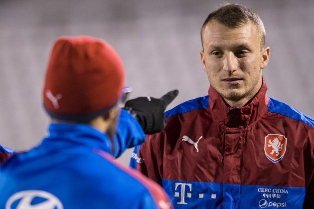 Michael Krmenčík během tréninku fotbalové reprezentace před zápasy s Norskem a Dánskem.
