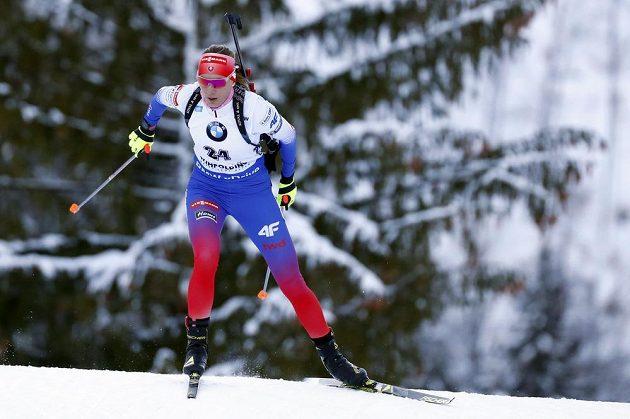Slovenská reprezentantka Anastasia Kuzminová při sprintu v Ruhpoldingu.
