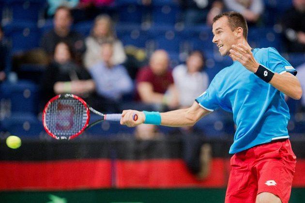 Český tenista Lukáš Rosol během rozhodující dvouhry při utkání prvního kola Davis Cupu v Německu.