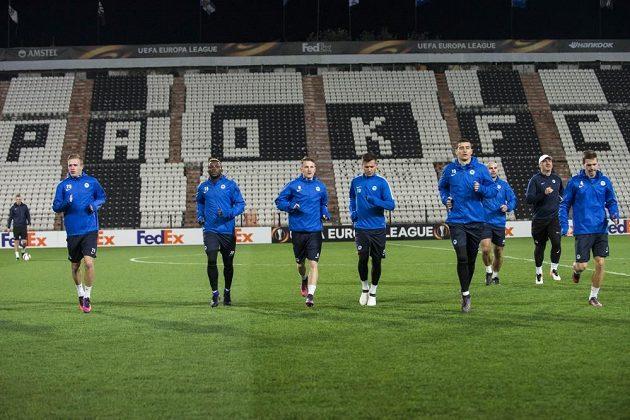 Trénink fotbalistů Slovanu Liberec na stadiónu PAOK Soluň.