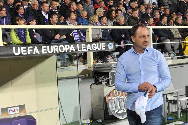 Trenér Jindřích Trpišovský při utkání Evropské Ligy Fiorentina-Liberec.