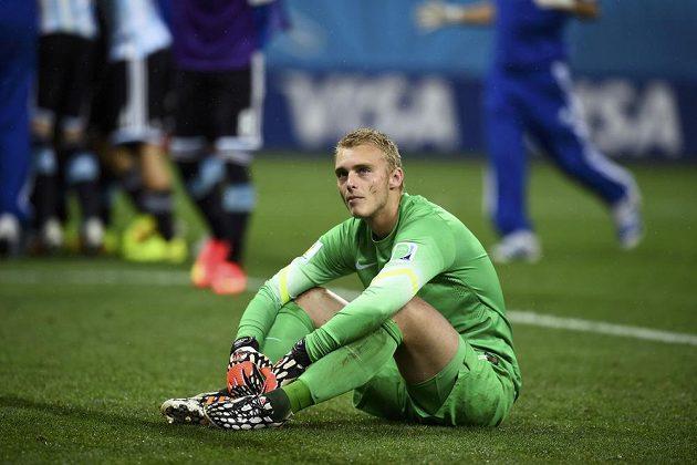 Smutný brankář Jasper Cillessen. V nizozemské bráně nechytil ani jeden z penaltových pokusů Argentinců.