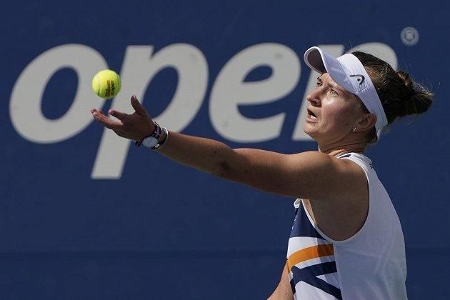 Barbora Krejčíková v utkání 3. kola dvouhry na US Open.