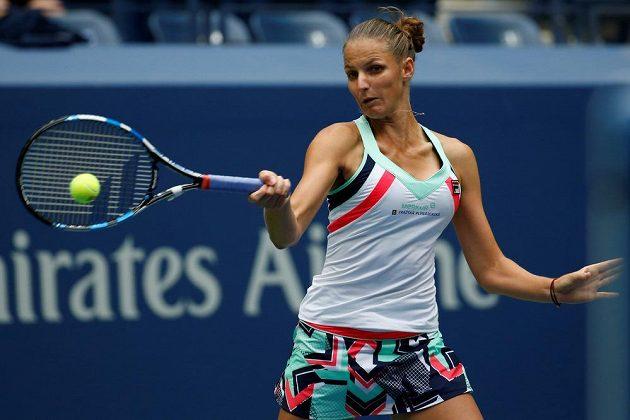 Karolína Plíšková během zápasu 1. kola na US Open.