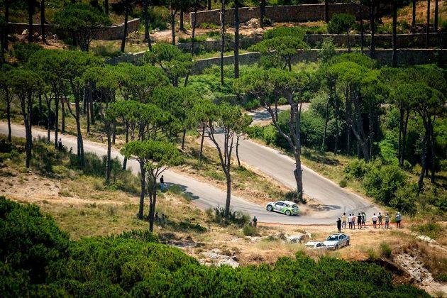 Vojtěch Štajf se Škodou Fabia R5 na trati Libanonské rallye.